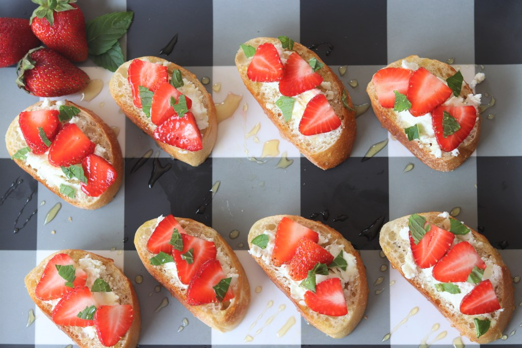 Goat Cheese + Strawberry Crostini