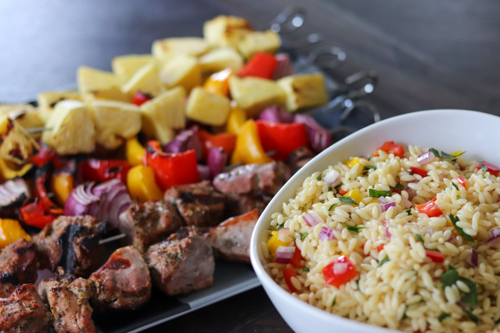 Grilled Hatfield® Pork Kebabs With Orzo Pasta Salad