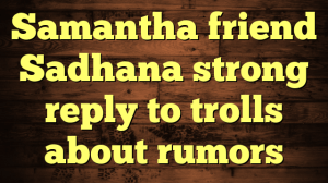 Samantha friend Sadhana strong reply to trolls about rumors