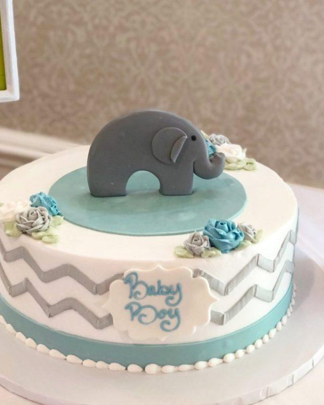 baby boy elephant baby shower cake
