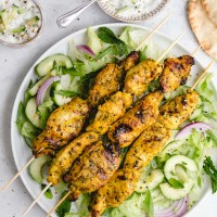Grilled Chicken Skewers with Indian Marinade and Cucumber Raita