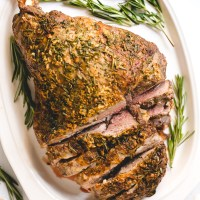 Garlic Herb Roasted Leg of Lamb