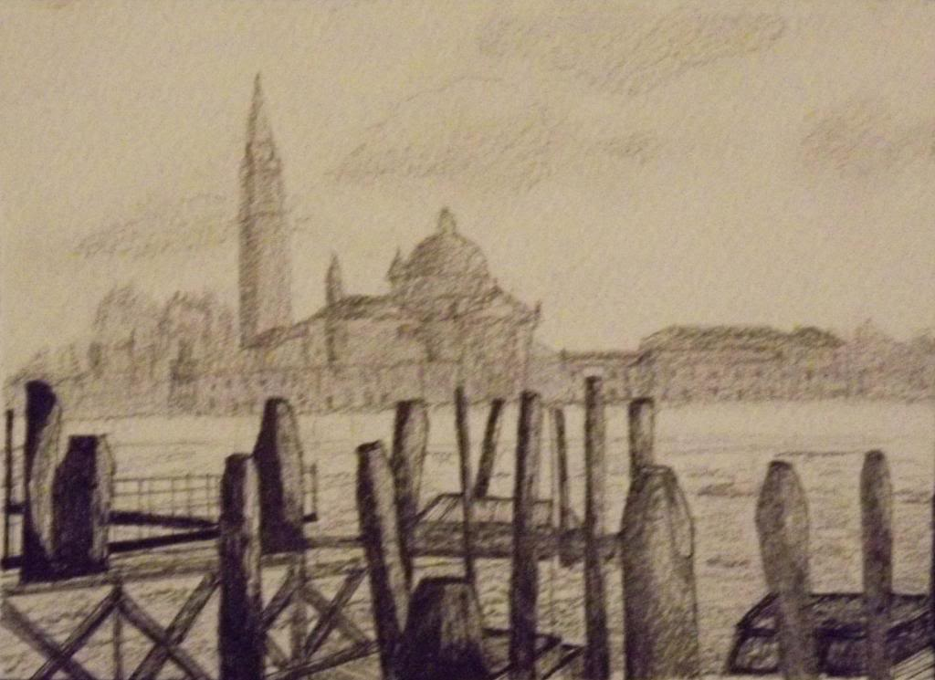 Panorama of Venice - Ink on paper by Andrea Kucza Andipainting