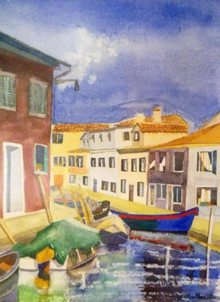 Burano - Watercolour on paper by Andrea Kucza Andipainting