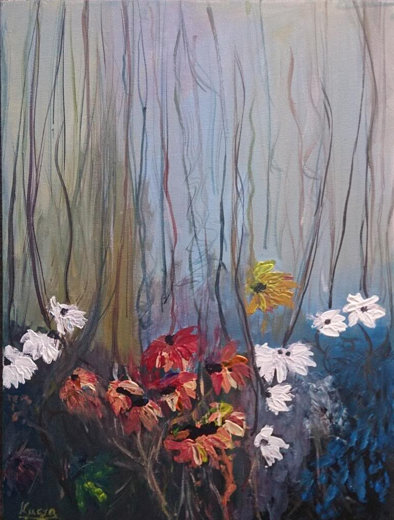 Flowers in the forest - Acryilic on canvas by Andrea Kucza Andipainting