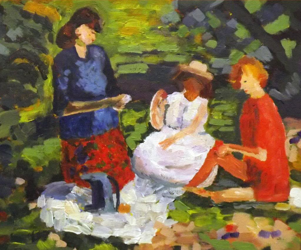Three ladies at picnic - Acryilic on canvas by Andrea Kucza Andipainting