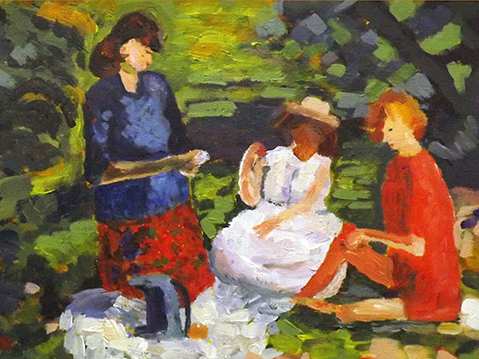Three ladies at picnic