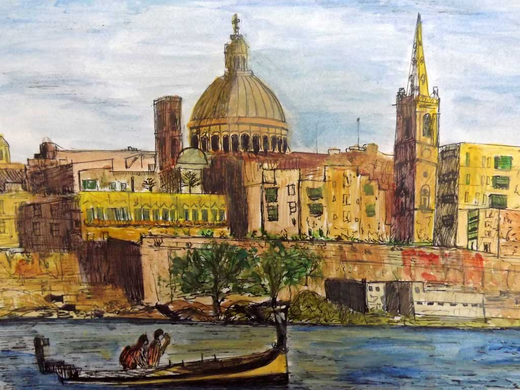 Valletta - Acryilic on paper by Andipainting