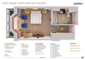 Electrical installations: Electrical layout plan for a typical hotel room   Andivi