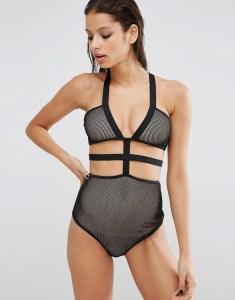 ASOS Fishnet Harness Elastic Cut Out Swimsuit