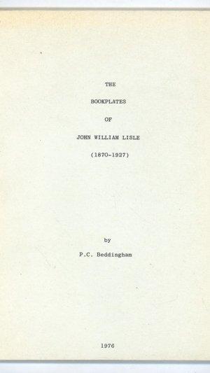 The Bookplates of John William Lisle (1870-1927)