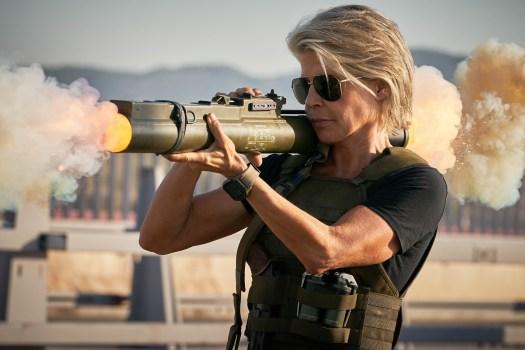 Linda Hamilton returns to her iconic role as Sarah Connor in Terminator: Dark Fate.