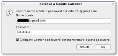 Schermata di accesso a Google Calendar