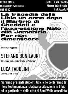 La tragedia della Libia un anno dopo: conferenza di Luca Tadolini e Stefano Bonilauri