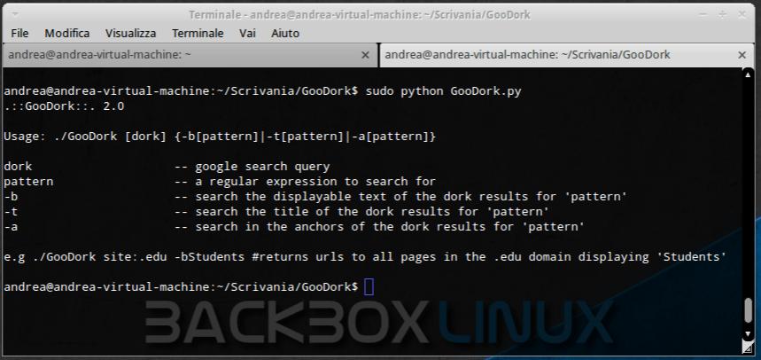 GooDork - Linea di Comando per le Google Dorks