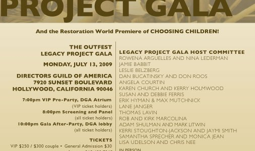 Outfest Legacy Project Gala Monday!