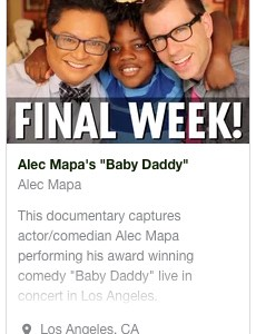 Alec Mapa: Baby Daddy Kickstarter press release
