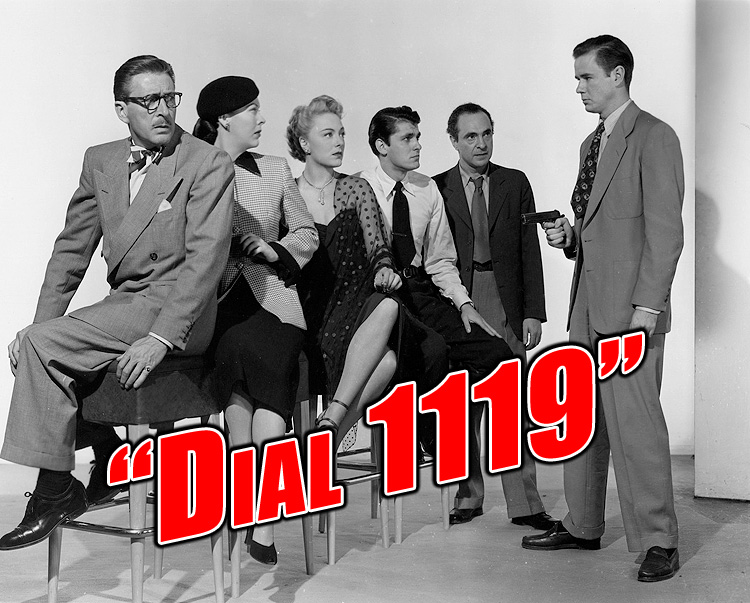 """Photo of Leon Ames, Andrea King, Virginia Field, Keefe Brasselle, Sam Levene, and Marshall Thompson in MGM's """"Dial 1119,"""" 1950."""