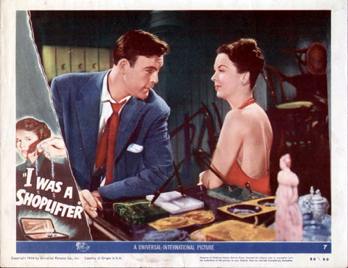 Photo of an original lobby card with Scott Brady and Andrea King.