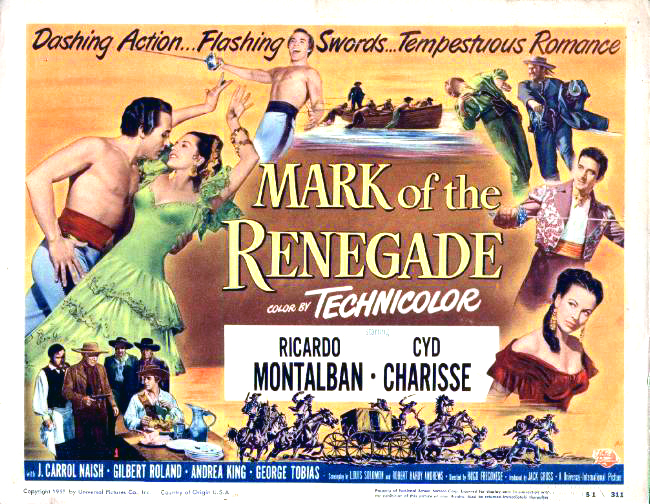 "Andrea King pictured on the original half-sheet poster for ""Mark of the Renegade,"" 1951."