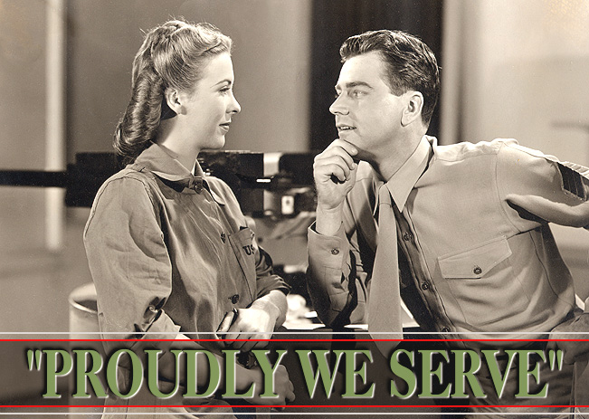"""Andrea King and Warren Douglas in """"Proudly We Serve,"""" 1944."""