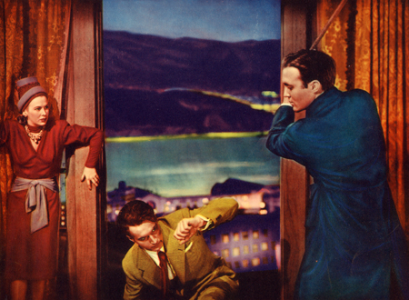 """Image from an original lobby card for """"Shadow of a Woman,"""" 1946."""