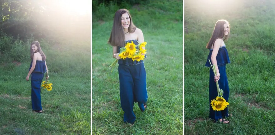 Beautiful Backlit Image of Hannah Class of 2018 Cambridge High School at Anderson Sunflower Farm in Cumming, GA