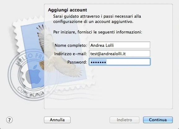 Configurare Mail su Mac - Step 1