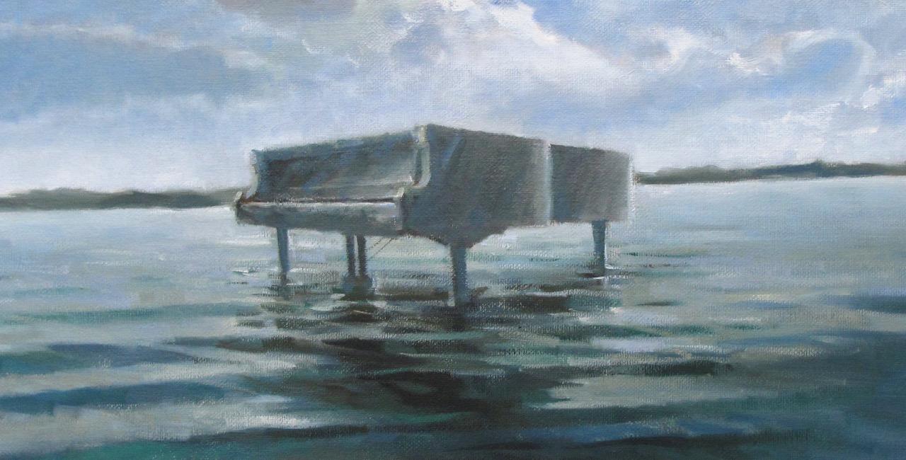 post50 Piano sull'acqua, 2010, olio, cm 100x40
