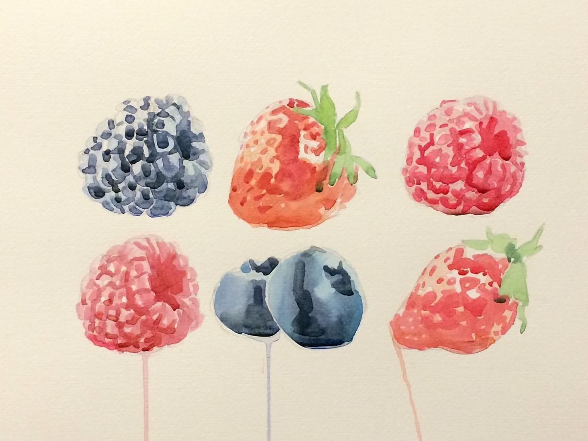 Andrea Mancini Fruits 2014 watercolor 35x50