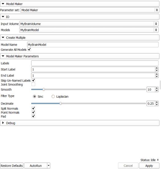 Slicer: Model Maker Parameters