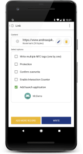 NXP TagWriter: Add Launch Application for Android Application Record (AAR)