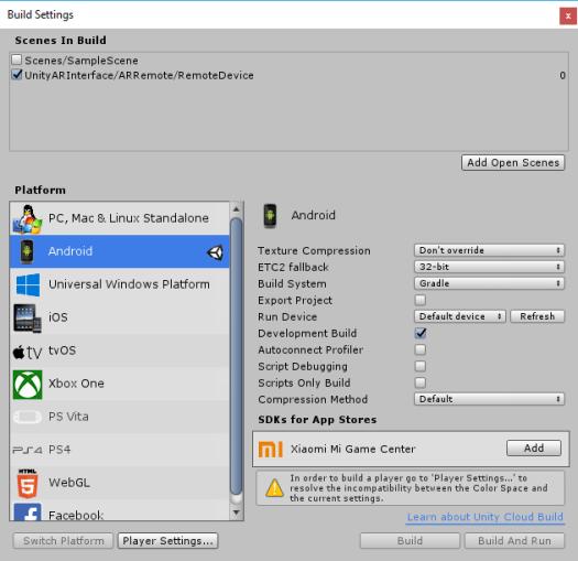 ARInterface Unity Build Settings