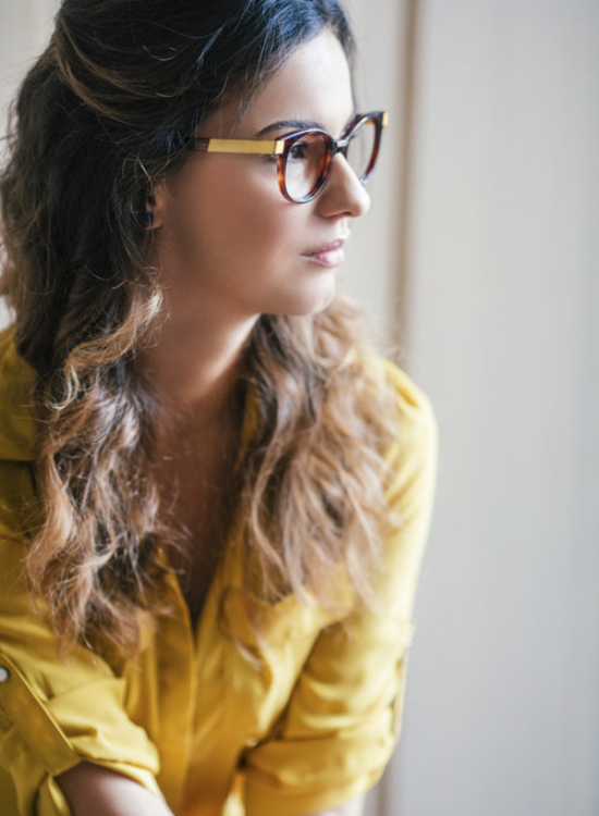 Portrait of a Pretty Woman With Glasses