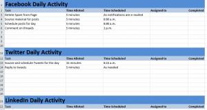 Social Media Activity Calendar