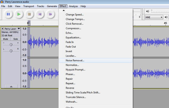 Audacity noise removal