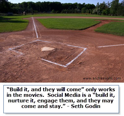 """""""Build it, and they will come"""" only works in the movies. Social Media is a """"build it, nurture it, engage them, and they may come and stay."""" ~ Seth Godin"""