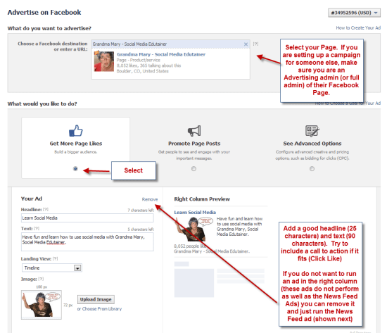 Setting up your facebook ad