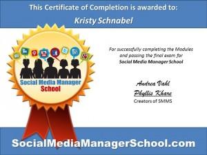 Kristy Schnabel certificate