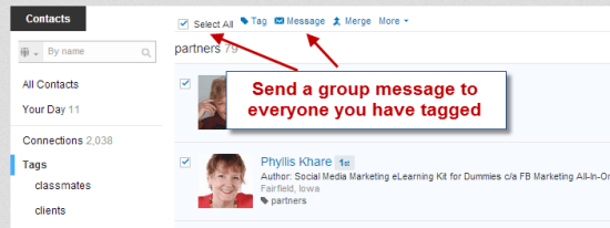 LinkedIn Group message tagged