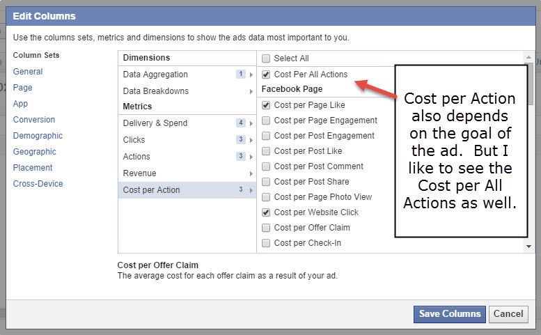 Facebook Cost per action