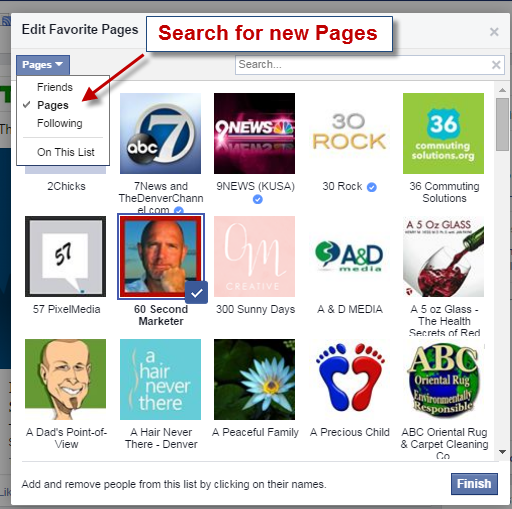 Add new Pages to your Facebook Interest List