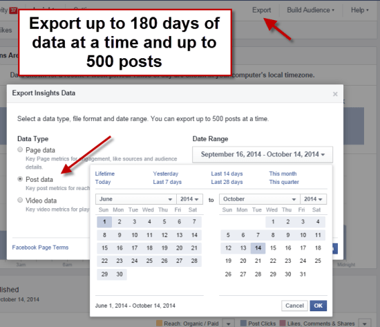 Export Facebook Insights data