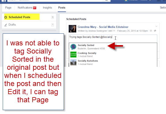 Scheduled Facebook post with tag