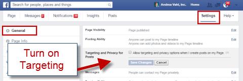 Turn on Facebook Targeting