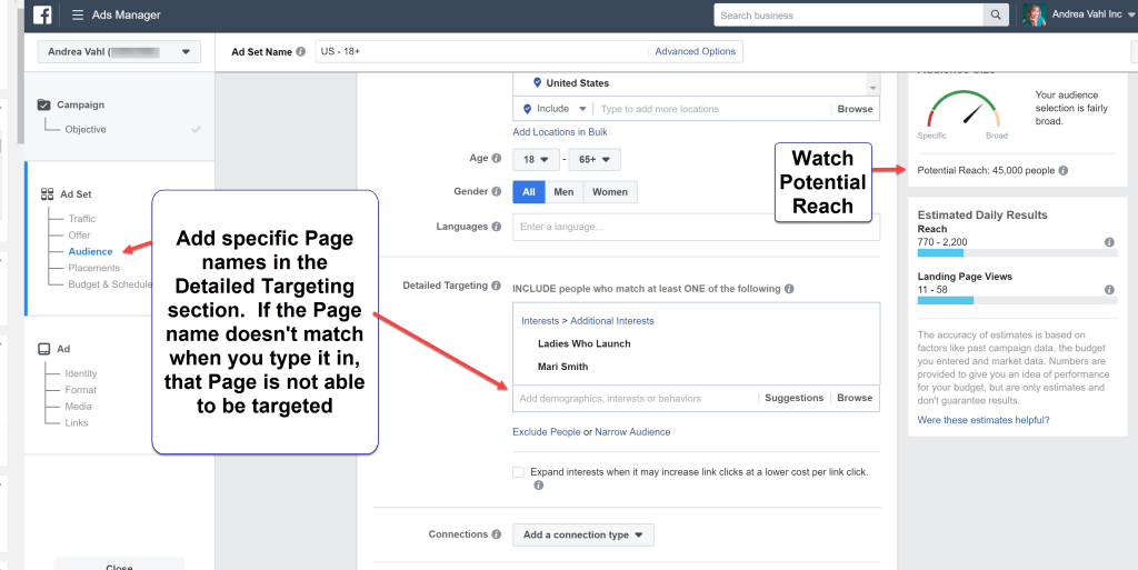 Targeting Fans of Pages with a Facebook Ad