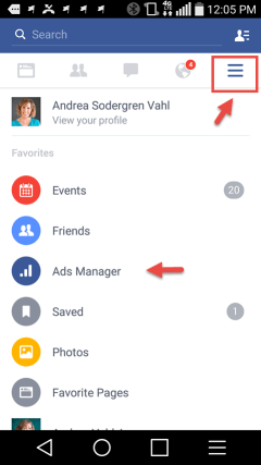 Facebook Ads Manager from mobile