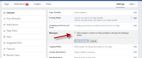 Enable Facebook Messages button