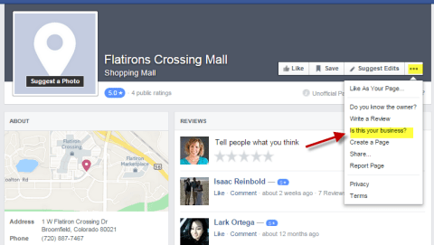 Claim a Facebook Place Page