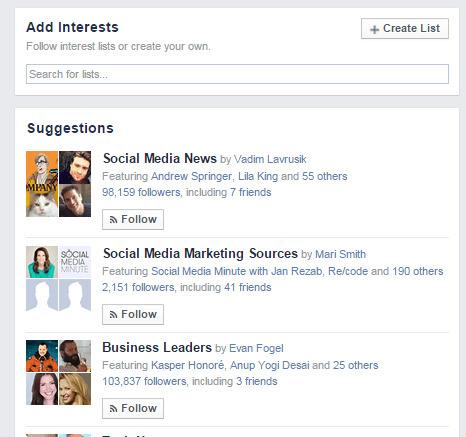 Create Facebook Interest List
